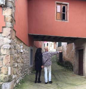 A couple is visiting a wonderful spot in Picos de Europa